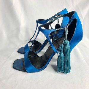 Gianni Versace T Strap Blue Satin Tassle Tie Heels